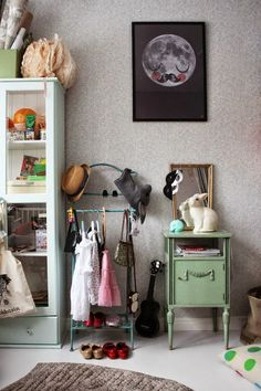 kids room, adorable use of a vintage butler stand Link to a very creative (and honest, with real kid messes) house all done in mellow grey, which allows calm, and colors to pop Casa Kids, Deco Kids, Deco Retro, Kids Room Organization, Little Girl Rooms, Kid Spaces, Kidsroom, Kids Decor, Boy Decor