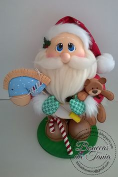 Santa with toys Sculpey Clay, Polymer Clay Crafts, Christmas Holidays, Christmas Crafts, Christmas Ornaments, Cartoon Fish, Fondant Toppers, Air Dry Clay, Xmas Decorations