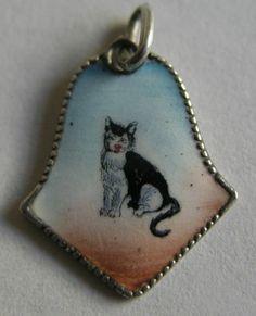 Antique German Silver Enamel Cat Kitten Charm So Sweet | eBay