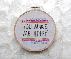 mother's day gift linen embroidery hoop art you by letterhappy, $22.00
