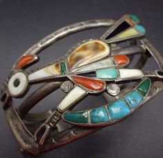 Vintage ZUNI Stamped Sterling Silver MULTI STONE Inlay ROADRUNNER Cuff BRACELET