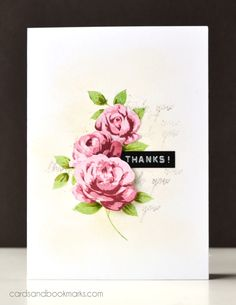 Tasnim - Stamps: Altenew Vintage Roses, Many Thanks, Cleary Besotted Stamps Leafy AccentsInk: Distress ink Antique Linen, Close To My Heart Vineyard Berry, TopiaryPaper: Neenah Solar WhiteOther: DYMO label maker