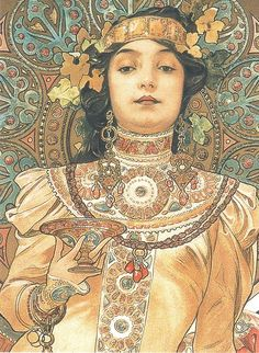 Detail from Alphonse Mucha's Moët & Chandon - Dry Impérial