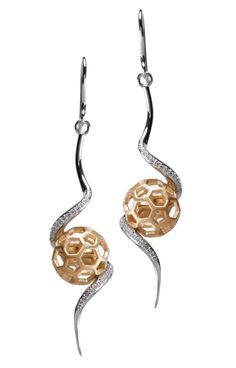 """Aeon Earrings Gold Ball"" Gold/Sterling silver/White topaz."