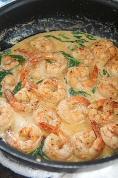 Easy Creamy Garlic Butter Shrimp - Cooked by Julie - - Tender flavorful shrimp tossed in a delicious parmesan garlic cream sauce. Creamy Garlic Shrimp Recipe, Garlic Shrimp Pasta, Garlic Butter Shrimp, Shrimp Recipes Easy, Healthy Dinner Recipes, Creamy Shrimp Scampi, Shrimp And Spinach Recipes, Shrimp And Garlic Sauce Recipe, Shrimp Scampi Sauce