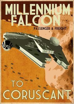 retro star wars poster, millennium falcon to coruscant