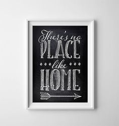 INSTANT DOWNLOAD 5X7 Printable Digital art file - Theres no place like home - The Wizard of Oz - chalkboard background    This listing is for a
