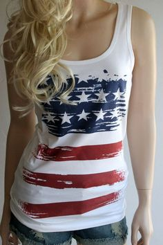 Tee Hunt Let Freedom Ring Muscle Shirt American Flag Independence 4th of July Sleeveless