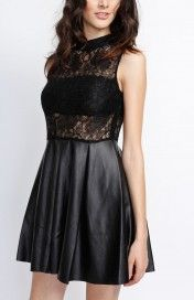 Black Lace Dress With Faux Leather Skirt #wholesale #clothing #fashion #love #ootd #wiwt #pants #skirts #dresses #tops #outerwear #sweaters #burgundy #winter #coats #jackets #pants