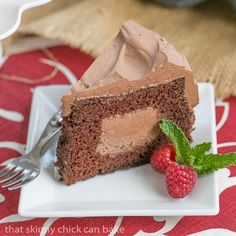 Tunnel of Mousse Cake- A fine crumb chocolate cake filled and frosting with a dreamy chocolate mousse! Cake Filling Recipes, Cake Recipes, Dessert Recipes, Frosting Recipes, Dessert Ideas, Vegetarian Chocolate, Chocolate Recipes, Chocolate Mousse Cake, Chocolate Cakes
