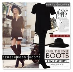 """""""Over The Knee Boots"""" by milica1940 ❤ liked on Polyvore featuring Eugenia Kim, Moschino and Sergio Rossi"""