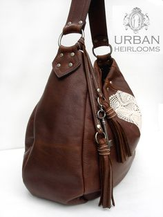 Large leather hobo bag with vintage lace, tassels and antique key ... Urban Heirlooms #tassels #leather #countrygirls #prairiechic #leatherandlace