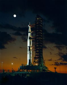 The giant Saturn V rocket for the Apollo 4 mission at the Kennedy Space Center, November 8, 1967.