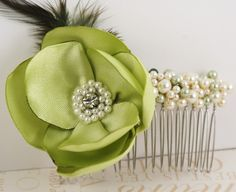 Bridal Hair Comb-Fascinator in Lime Green with Czech Pearls, plume and Handmade Satin Flower-
