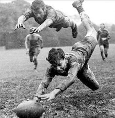 """Rugby - The game played in heaven. Said to have started in 1823 when William Webb Ellis """"with fine disregard for the rules of football, as played in his time, first took the ball in his arms and ran with it. Thus originating the distinctive feature of the Rugby game"""" - per the plaque at Rugby School, England"""