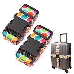 PIXNOR Cross Suitcase Luggage Strap Packing Belt Stripe Rose Red