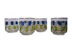 Retro Blue & Green Block Low Ball Glasses - S/4 on Chairish.com