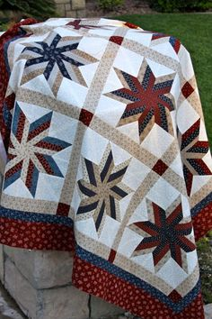 "Around the Block quilters Shop Exclusive!!!  Love, love, love this quilt kit!    We call it Old Glory Sweet Stars.  It is 63"" x 79"".  Fabric is Old Glory Gatherings by Primitive Gatherings for Moda Fabrics, and the Pattern is Sweet Sugar Swirls by Joanna Figueroa for Fig Tree & Co.  The kit sells for $99.95 and you can order it here...  www.aroundthebloc..."