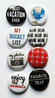 My Bucket List Flair by aflairforbuttons on Etsy, $6.00  #flair #flairbuttons