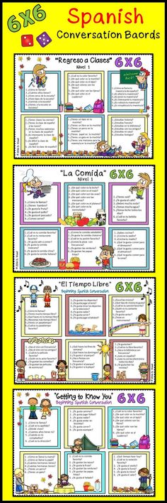 Spanish Conversation Boards BUNDLE: Fun and engaging conversation activity boards including 4 different themes (Back to School, Getting to Know You, Free Time Activities and Food). Students will have fun communicating in the target language with these boards! #learnspanishtips
