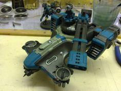 Tau Hammerhead Gunship and Ascendance Legion Colour Scheme Olive Drab / Deep Blue / Grey-Green