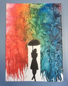 Melted crayons art with a woman standing under an umbrella hiding away from the rain falling down