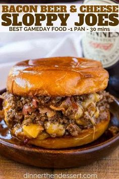 Beer and Cheese Sloppy Joes are the perfect gameday food for a crowd with a Guinness sauce and sharp cheddar cheese filling.Bacon, Beer and Cheese Sloppy Joes are the perfect gameday food for a crowd with a Guinness sauce and sharp cheddar cheese filling. Beef Dishes, Food Dishes, Main Dishes, Hamburger Dishes, Food Platters, Yakisoba, Bacon Beer, Game Day Food, Food For A Crowd