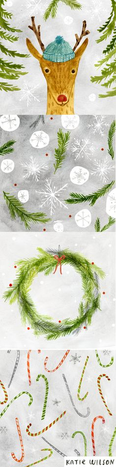 Christmas illustrations by Katie Wilson - in my backyard