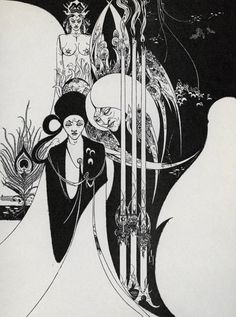 Art Nouveau was influenced by Aubrey Vincent Beardsley August 1872 – 16 March was an English illustrator and author. His drawings in black ink, influenced by the style of Japanese woodcuts, emphasized the grotesque, the decadent, and the erotic. Design Graphique, Art Graphique, Vintage Poster, Vintage Art, Vintage Black, Art And Illustration, White Art, Black Art, Black White