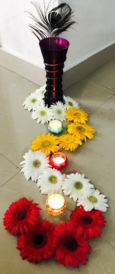 Innovative simple flower design for Diwali festival.
