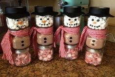 These are adorable little snowman jars filled with hot chocolate fixin's. These make great stocking stuffers or office staff gifts. I am happy to offer discount