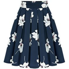 Flowers Print Chiffon Pleated Navy Skirt