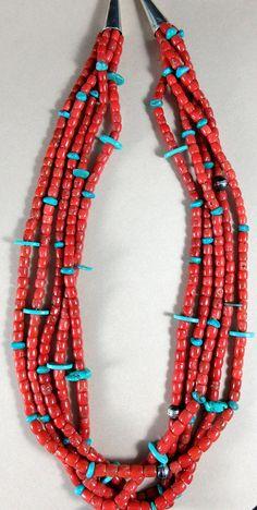 "FEDERICO JIMENEZ~High Grade~Gem Quality~Rare~Mediterranean Coral & Turquoise~5 Strand Necklace~25"" Long"