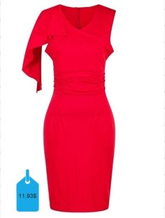 Graceful V-Neck Flounce Sleeve Slimming Bodycon Dress For Women