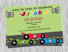 DIY - Boy Racecar Birthday Party Invitation - Coordinating Items Available