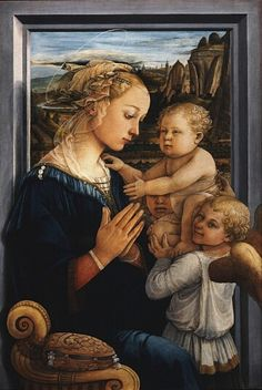 Madonna with Child and Angels by Fra Filippo Lippi (1406-1469).Painted for the chapel in Cosimo de' Medici's palace, this picture was transferred to the Uffizi Gallery from the Royal store-rooms in 1776. More, perhaps, than in any other work by the master, the whole arrangement of the picture and the management of the planes reveal the influence of the relief sculpture by Donatello and his followers. It is particularly akin in spirit to the art of Rossellino.