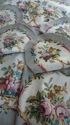 Rare 19th C French UNUSED floral tapestry salon set   Aubusson