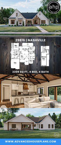 4 Bedroom Farmhouse w/ Bonus Room – farmhouse plans Porch House Plans, Basement House Plans, House Plans One Story, New House Plans, Country House Plans, Dream House Plans, Modern House Plans, My Dream Home, Story House