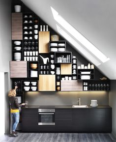 There are such producers that create fantastic furniture that can be used in almost any interior, for example, IKEA. What I love about IKEA is that it's Ikea Metod Kitchen, Modern Kitchen Cabinets, Kitchen Dining, Kitchen Storage, Wooden Kitchen, Studio Kitchen, Ikea Cabinets, Upper Cabinets, Kitchen Sink