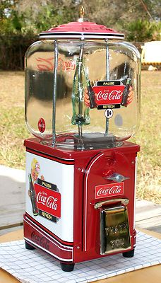 VINTAGE 1940'S VICTOR Brand *COCA COLA* Gumball Peanut and Candy vending machine via Rumma.ge
