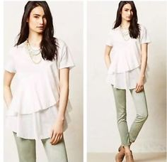 Anthropologie Meadow Rue Flounce Tiered Layered Tee XS | eBay