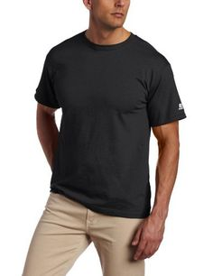 "Russell Athletic Men's Basic Cotton Tee Russell Athletic. $5.50. Tagless. Quick dry moisture management fabric. Machine Wash. 0.00"" high. Cotton and Poly-Cotton Blend. Athletic cut. Machine wash cold, tumble dry. Heathered colors are 58% polyester/42% cotton, All others are 100% Cotton. 0.00"" wide"