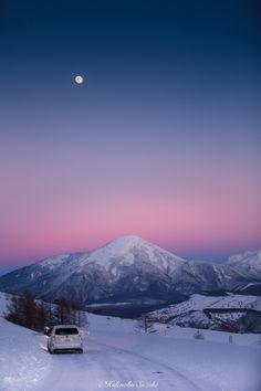 Sunset and the moon in Tateshina, a famous mountain in Japan - by Hidenobu Suzuki
