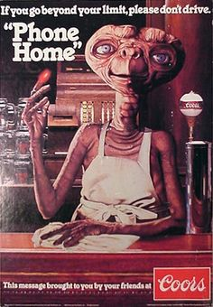 """ET in a vintage beer ad. Admittedly, I'm a bit uneasy about something from my childhood being called """"vintage. Old Advertisements, Retro Advertising, Retro Ads, Vintage Ads, Vintage Posters, Vintage Branding, Beer Advertisement, School Advertising, Retro Posters"""