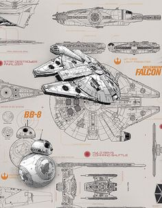 'Star Wars Blueprint' photomural design ref 8-493 (368cm wide x 254cm) X-Wing Fighter, Millennium Falcon, BB-8 and Speeder – Aboard these starships, Rey dashes across the desert, Poe Dameron whizzes across the water and Han Solo floats through the stratosphere. #Starwars #Theforceawakens