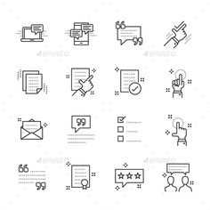 Testimonials Simple Vector Line Icons Set