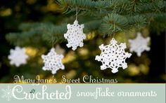 Learn to make MaryJane's Sweet Christmas Crocheted Snowflake Ornaments.
