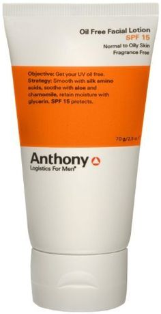 Anthony Logistics For Men Anthony Logistics Oil Free Facial Lotion SPF 15 by Anthony Logistics for Men. $21.01. The two skin care items the typical man hates most: moisturizer and sunscreen. Anthony Logistics For Men Oil Free Facial Lotion SPF 15 provides non-oily, soothing moisture and sun protection without that thick, mask feeling....