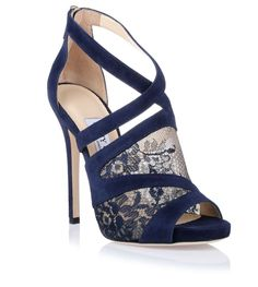 Navy suede and lace platform asymmetrical sandal from Jimmy Choo.