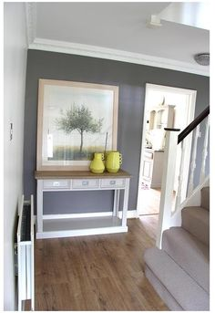 Farrow & Ball Mole's Breath hallway entrance way and console table by @seasonsincolour www.seasonsincolour.com